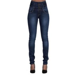 Wholesale Clothing Woman Jeans - 2017 Autumn Brand Designer Casual Women Jeans High Waist Pant Slim Stretch Trousers For Woman Blue Party Club Plus Size Women Clothing