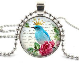 Wholesale Mixed Birds Pendant - 10Pcs Lot Lovely bird pendant necklaces Silver Black Color Universe Gemstone Pendant Necklaces Mix Style 2016 July Style