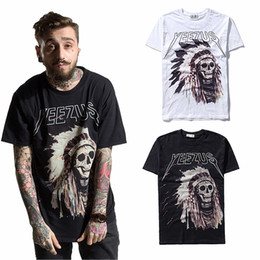 Wholesale Yeezus Shirt Xl - Yeezus tour Kanye West t shirt men t-shirt tshirt skull Indiana fashion short sleeve cotton camisetas tee
