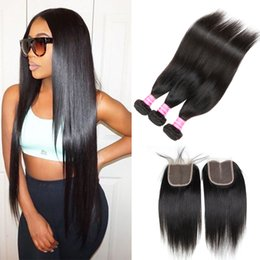 Wholesale Remy Hair Wefts - Daily Deals Brazilian Peruvian Malaysian Indian Straight Remy Human Hair Weaves Closure 3 Bundles with Top Lace Closure Hair Wefts and Weave