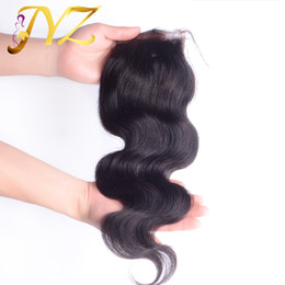 Wholesale Body Shed - Top Quality Swiss Lace Closure Body Wave Malaysian Brazilian Peruvian Indian Human Hair 4x4 Lace Closure Bleached Knots No Shedding