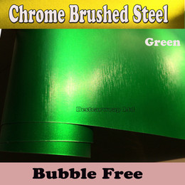 Wholesale boat steel - Metallic Green chrome brushed steel Vinyl Car Wrapping Vinyl with Air Release Film Boat   Vehicle Wraps covers foil Size 1.52x20m Roll