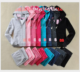 Wholesale Soccer Tracksuit Free Shipping - Ladies Sweatsuits Long Sleeve Zipper Jogging Velour Tracksuits Pink Sweat Suits Hoodies Suits Sportswear 2016 Sports Set Free Shipping
