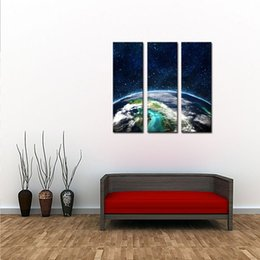 Wholesale Living Earth - the Earth 3 Panels Modern Landscape Artwork Giclee Canvas Prints and Canvas Wall Art Ready to Hang for Living Room Bedroom Home Decor