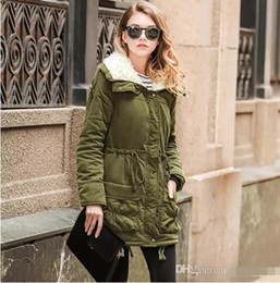 Wholesale Thick Quilts - 2017 Army Green Winter Parka Hooded Coat Warm Women's Jackets Female Casual Wadded Quilt Snow Outwear Warm Overcoat In Stock FS1915