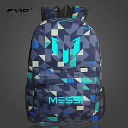 Wholesale Backpack Logos - FVIP Teenagers Backpacks School Bag Logo Messi Backpack Bag Men Boys Travel Gift Kids Bagpacks Mochila Bolsas Escolar
