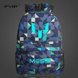 Wholesale Kids School Dress - FVIP Teenagers Backpacks School Bag Logo Messi Backpack Bag Men Boys Travel Gift Kids Bagpacks Mochila Bolsas Escolar