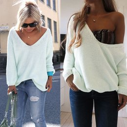 Wholesale womens baggy sweaters - Wholesale-Womens Ladies Off The Shoulder Chunky Knitted Oversized Baggy Sweater Jumper Top