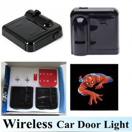 Wholesale Led Projection Logos - 2pcs LED Car Door Light No Drilling Required Wireless Car Projection Light LED Door Welcome Ghost Shadow Light Spider-Man Logo
