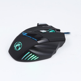 Wholesale Brand Computer Mouse - New Brand Estone X7 7 Key Optical 6D USB Wired Gaming Mouse 2-Colors Support Adjustable 2400 DPI LED Light for Computer Games