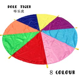 Wholesale Parachute Balls - Wholesale- Dole Tiger 2M Children Outdoor Sports Game Toys Team Exercise Rainbow Parachute Toy Jump-sack Ballute Play Parachute 8 colours