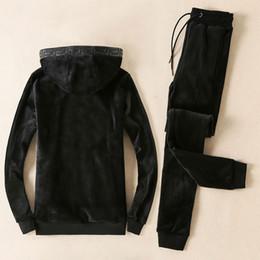 Wholesale Embroidery Velvet Coat - Winter Brand Men Tracksuit Casual Hooded Men's Sportwear Tracksuits Set Thick Slim Warm Velvet Sweatshirt Hoodies Sets Coat + Pants men