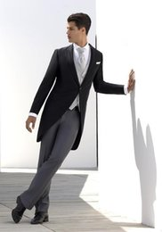 Wholesale Men S Long Suit Tailcoat - 2016 king shop hot sale Fashion 2016 Men's Morning Suits Groom Tuxedos Wedding Suits Business Tailcoats