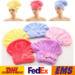 Wholesale Hair Drying Turban Towels - DHL Shower Caps Women Microfiber Magic Bowknot Shower Caps Hair Dry Drying Turban Wrap Towel Hat Cap Quick Dry Dryer Bath 25*28cm WX-H03