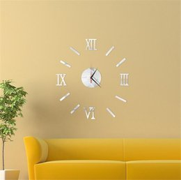 Wholesale House Digital - Sticker Wall Clock Modern DIY Analog 3D Mirror Surface Numbers House Decoration Fashion Clock for Living Room Wall Clocks
