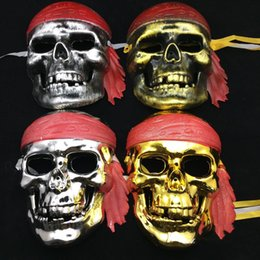 Wholesale Pirate Masquerade Masks - Free Size Halloween Face Mask Caribbean Pirates Masquerade Masks Scary Skulls Masks Halloween Party Supplies Drop Shipping