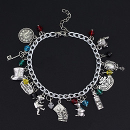 Wholesale wonderland bracelet - Alice in Wonderland Inspired Charm Bracelet Gril Mirror Clock Teapot Playing Card Hat Key with gift box