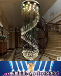 Wholesale Spiral Chandelier Lighting - PL11XY Dia 40-100cm Spiral Staircase Chandelier Lamp Crystal Penthouse Villa Living Room Lights Restaurant Hotel Lobby Pendant Lighting