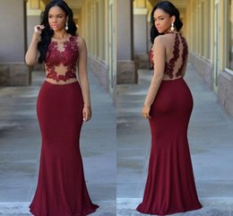 Wholesale Modest Evening Gowns For Women - Modest Long Sleeves Burgundy Formal Evening Dresses Jewel Lace Appliques Illusion Mermaid Long Arabic Prom Party Pageant Gowns For Woman