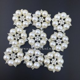 Wholesale Wholesale Flower Rhinestone Embellishments - Free Shipping Wholesale 26mm flower shape Flatback Rhinestone embellishment Button For Hair Flower Wedding Invitation Pearl Button 30pcs lot