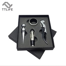 Wholesale Bottle Opener Kits - Ttlife 2017New Arrival High Quality 4Pcs Wine Tool Sets Bottle Opener Wine Stopper Stainless Steel Wine Accessory Kit Gifts