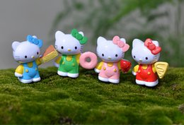 Wholesale Wholesale Cupcake Ornaments - 4pcs cupcake KT Cat figurines cartoon kitty fairy garden miniatures ornaments terrarium Jardin Decoration moss Micro Landscape resin crafts