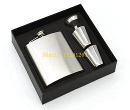 Wholesale Pocket Bottle Oz - 50sets lot 7 OZ Hip Flask In Box 7OZ Mens Classic Pocket Flagon Bottle Creative Hip Flask With funner & cups