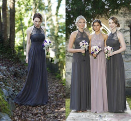 Wholesale One Shoulder Halter Wedding Dresses - 2017 New Grey Beach Bridesmaid Dresses Halter Neckline Lace Top Backless Chiffon Country Maid of Honor Wedding Guest Dress Cheap Custom