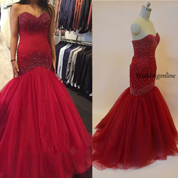 Wholesale Beaded Fit Flare Gown - Major Beading Prom Dresses Mermaid Fit And Flare Lace Up Back Christmas Party Gowns Custom Made Cheap Online Vestido De Festa Real Photos