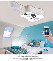 Wholesale Led Light Guitar - Morden Smartphone LED Ceiling Lights with Bluetooth Controlled Creative Guitar Shape LED Ceiling Lamp Home Decor Luminaire