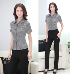 Wholesale Striped Formal Blouse Women - Wholesale-Formal Pantsuits Women Suits with Pant and Shirt Sets Striped Top Work Wear Trousers and Blouse Office Uniform Styles Elegant