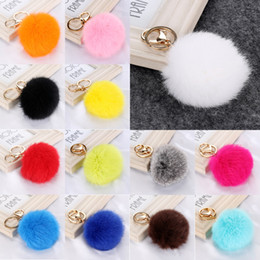 Wholesale Men Hair Cute - 30pcs Lot Cony Hair Ball Key chain Car Key Keychains Multi Color Lovely Rabbit Fur Ball Pendant With Gold Chain Cute Fur Keychains