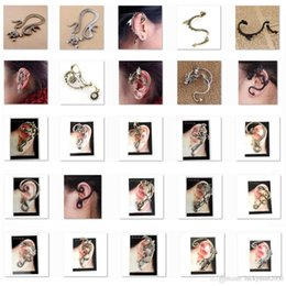 Wholesale Golden Ear Cuffs - Low sales Ear Cuff bird snake Dragon 60 Different Styles Earring Golden or Silver or Black LKYLEC001