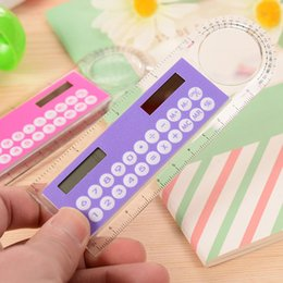 Wholesale Mini Calculator Gift - Solar Magnifier Mini Calculator Fashion Multifunction 10cm Ultra-thin Ruler Calculadora Office Supplies As a Gift Hesap Makinesi