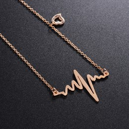 Wholesale Initial Charms Pendant - Electrocardiog Heartbeat Charm Ladies Womens Chain necklace Stainless Steel Heart Rhythm ECG EKG Gold Silver