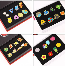 Wholesale Anime Pin Sets - 8pcs With Box Anime Poke monster Region Gym Badges SET Gen1 Indigo League Cosplay toy Poke monster League Pins Brooches Metal Figure Toys