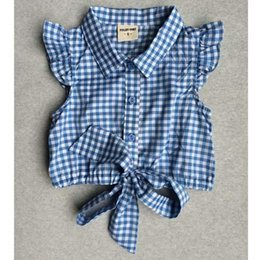 Wholesale Deer Bow Shirt Girls - 2015 Girls Shirts Baby Kids Short Sleeve Deer Shirts Tops Top Singlets T-shirt Ribbon Bow Cute 5P