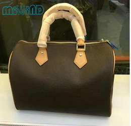 Wholesale Speedy Handbags - Top quality lady genuine leather speedy 30 35 With Strap Women Famous Brand handbag shoulder bag with strap designer handbags