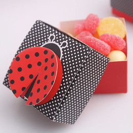 "Wholesale Burgundy Gift Box - 50 PCS Laser Cut ""Cute as a Bug"" 3-D Wing Ladybug Wedding Gifts Box Candy Boxes Gift Favor Box Baby Shower Wedding Party Supplies"