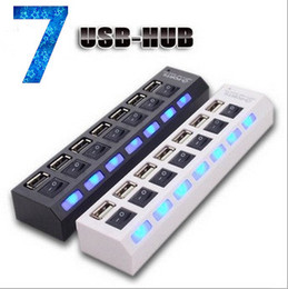 Wholesale Hub Usb For Printer - 7 ports USB HUB with LED Light power indicator ON OFF SWITCH High speed usb hubs for universal laptops printers free shipping