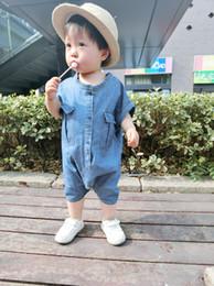 Wholesale girl jumpsuit denim baby - summer baby jumpsuits boy girl cowboy jumpsuits child clothing children clothes Denim jumpsuits 5 p l