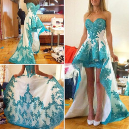 Wholesale Turquoise Short Homecoming Dresses - Turquoise Green Prom Dresses High Low 2016 Sweetheart Lace Appliques Sexy Evening Gowns Elegant Long Homecoming Dress For Girls Party