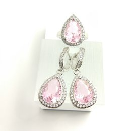 Wholesale 14k Pink Coral - The new jewelry set for women's fashion lovers wedding 925 Sterling Silver Pink Earrings Ring Size 789 free jewelry box