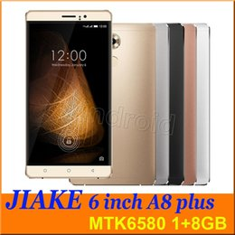 Wholesale Dual Camera A8 - 6 inch MTK6580 Quad Core 3G smartphone A8 plus JIAKE Android 5.1 Dual SIM Camera 8mp 1280*720 1G 8GB Gesture mobile free case shipping DHL