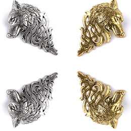 Wholesale Plastic Plates For Weddings Wholesale - Movie Men Jewelry Big Size Targaryen Wolf Head Brooch Vintage Gold Silver Animal Brooches For Women Brooch ZJ-0903662