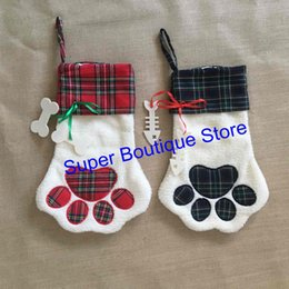 Wholesale Cat Bag Kids - 2017 new designs 2 colors dog cat paw stockings mixed colors fast shipping wholesale good quality Christmas stocking for kids gift bags