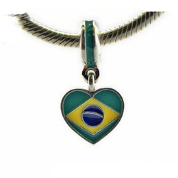 Wholesale 925 Silver Brazil - 2016 new arrival summer design brazil flag Beads Compatible with charm bead Bracelets silver 100%925 sterling silver wholesale