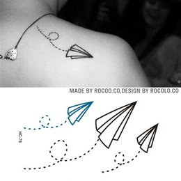 Wholesale Wholesale Temporary Tattoo Paper - Waterproof Fake Tattoo Stickers Paper Airplane Design Temporary Tattoo Sticker Women And Men Sexy Shoulder Flash Tattoo