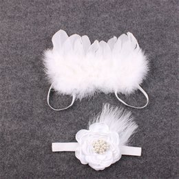 Wholesale Infant Fairy - Baby Angel Feather Wing Infant Photography Props with Rose Rhinestone Glitter Hairband Newborn Fairy Feathers Costume Baby Accessories B524