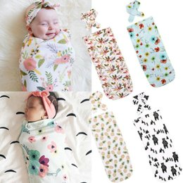 Wholesale Baby Blanket Small - 2017 Infant Baby Sleeping Bags Swaddle Boys Girls Bear Blanket+Headband Newborn Soft Cotton Sleep Sack Two Piece Set 10colors